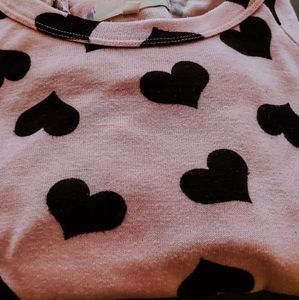 Sweaters - Heart print quarter sleeve shirt